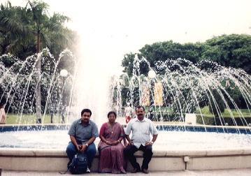 With Priya's parents at Sentosa
